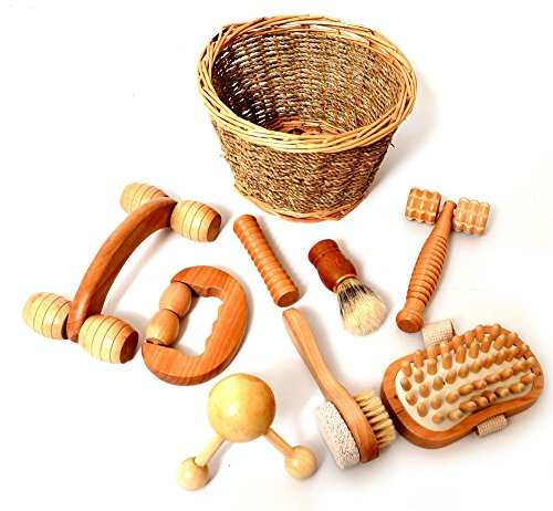 8 Piece Sensory Massage Set in Smooth Birch Wood, Rollers and Shapes, Sensory Brushing Therapy, Presented in Willow Basket