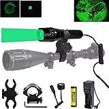 Linterna de caza verde de 350 yardas, luz de depredador verde con zoom Linterna táctica LED Antorchas caza Coyote Varmint con riel de interruptor de presión y soportes de alcance, batería y cargador