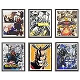 One for All Super Hero All-Might My Hero Academia Katsuki Anime stampe artistiche su tela per la decorazione della casa, 20,3 x 25,4 cm, senza cornice, set da 6