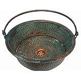 Oxidized Aged Green Pan Vessel Copper Bathroom Bucket Sink Toilet Wash Bowl Toilet Rebuilding
