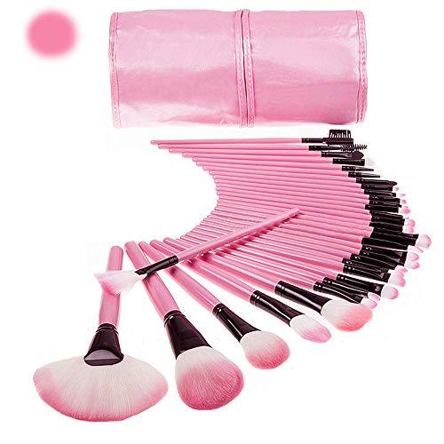 JUZHEN 32PCS Maquillage Pinceau Professionnel Ensemble Complet de Haute qualité d'outils de Produits de beauté Sac en Cuir PU,Pink