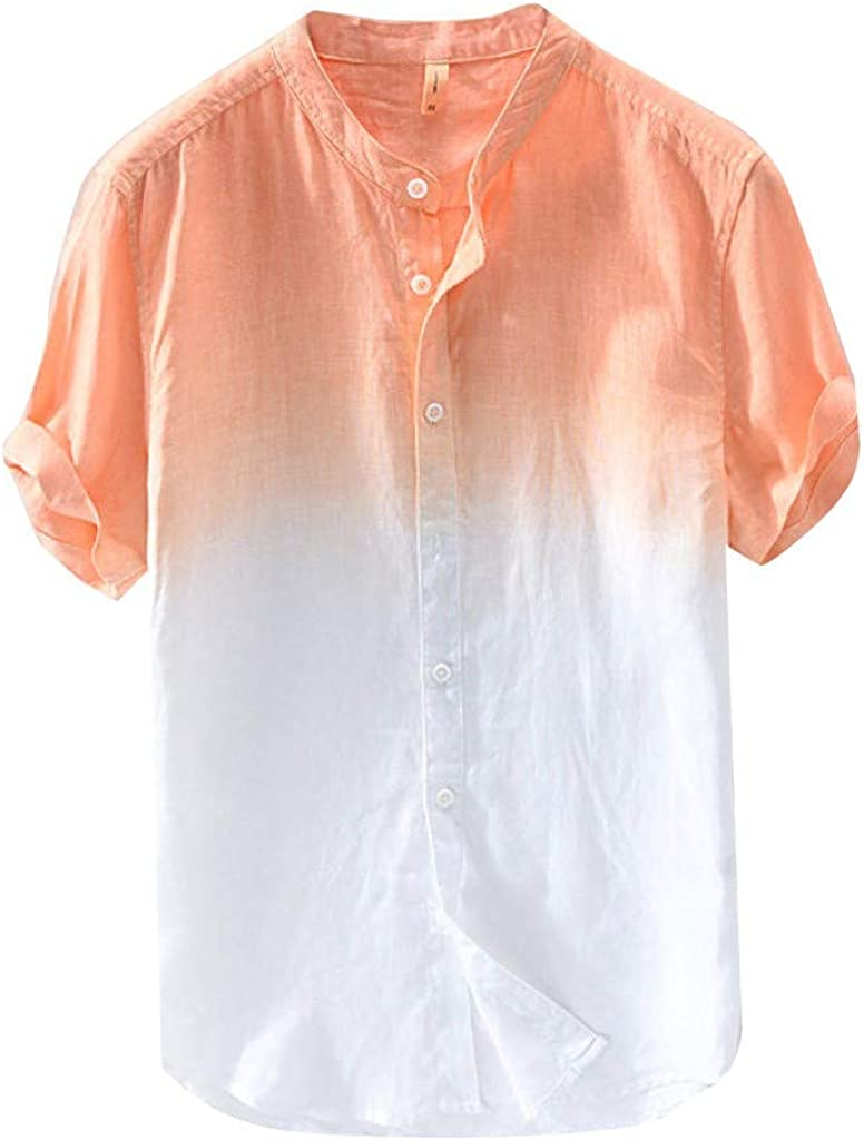 IHGTZS Shirts for Men, Summer Cool and Thin Breathable Collar Hanging Dyed Gradient Cotton Short