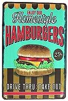 私たちのスタイルのハンバーガーをお楽しみください 金属板ブリキ看板警告サイン注意サイン表示パネル情報サイン金属安全サイン