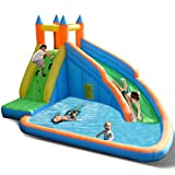 Costzon Inflatable Slide Bouncer, Water Pool with Long Slide, Climbing Wall, Including Oxford Carry Bag, Stakes, Castle Bounce House (Without Air Blower)