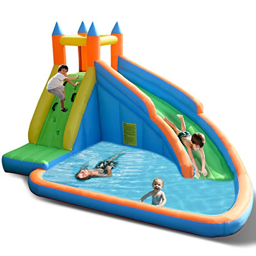 Costzon Inflatable Water Slide, Slide Bouncer Water Pool with Long Slide, Climbing Wall, Including Oxford Carry Bag, Repairing Kit, Stakes, Castle Bounce House (Without Blower)