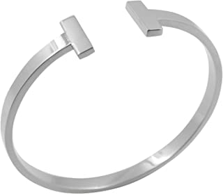 Designer Inspired Titanium Steel T Open Cuff Bangle Bracelet Unisex Mens Womens