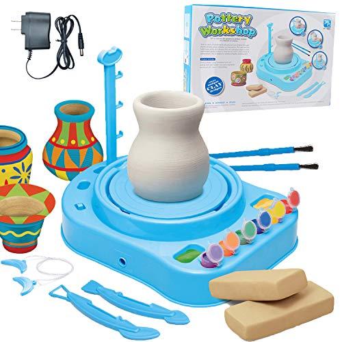Pottery Wheel Kit for Kids, Handmade Artist Paint Pottery Studio, Ceramic Machine with Sculpting Clay Educational Handicraft DIY Toy Art Craft Kit for Boys Girls Beginners-Blue