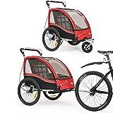360 ° drehbarer multifunktionaler 2-in-1 Fahrradanhänger / Kinderwagen Zweisitzer Kinderwagen Transporter mit Handbremse / Federung BT503 (rot)