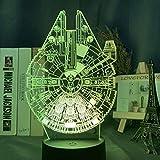 Festival 3D Luz de Noche Led Star Wars Nave Espacial Millennium Falcon Modelo Luz de Noche para Niños Decoración de Habitación Escritorio Lámpara de Noche Dropship-16 Colores con Control Remoto