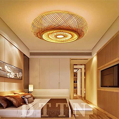 Plafoniera rotonda Lampada in tessuto di bambù Lampada da soffitto in rattan naturale Lampada da soffitto creativa E27 Paralume fatto a mano Plafoniera da ristorante Camera da letto , 80 cm