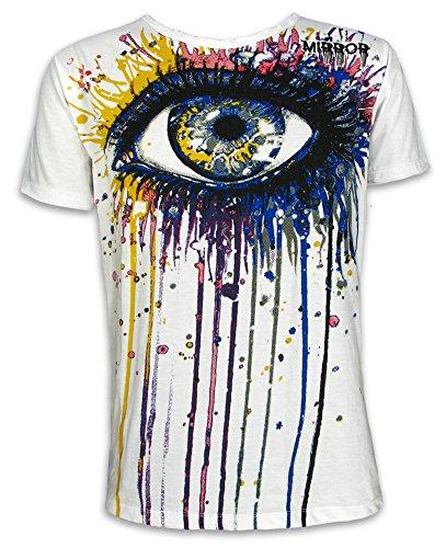 MIRROR T-Shirt da Uomo - Lacrime di Vernice Taglia M L XL Arte Psichedelica Occhio Moderna Festival Magliette (XL, Bianco)