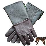 噛みつき防止 ペットグローブ 犬ヘビ猫鳥トカゲアンチ咬傷/スクラッチ牛革肥厚保護手袋用手袋の取り扱い動物 ペットの入浴 お手入れ 耐摩耗性に優れる