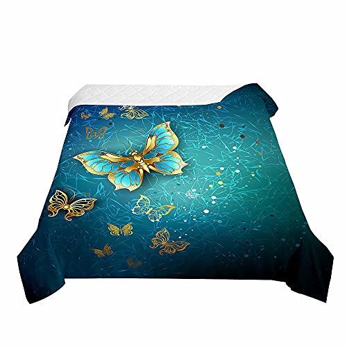 Surwin Colcha de Verano Reversible con Estampado de Mariposas 3D, Edredón Cubrecama Rellenos de Algodón, Microfibra Colcha Suave y Transpirable de Entretiempo (Azul Dorado,230x280cm)