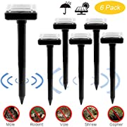 Fomei Ultrasonic Solar-Powered Mole Repellent Professional Mole Repeller Pest Deterrent Repelling Mole, Rodent, Vole, Shrew, Gopher, Snake for Outdoor Lawn Garden Yards Pest Control (6 Pack-Square)