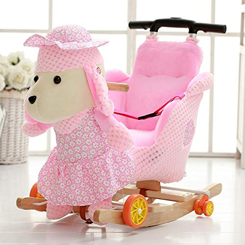 ZIXERN Rocking Horse Child Rocking Horse Standing Ride-On Horse Toy Early Childhood Educational Rocking Horse Girl/Boy Ride on Toy for 1-3 Year Old (Color : Pink, Size : 28X60X58CM)
