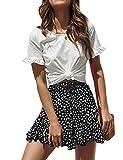 Relipop Women's Flared Short Skirt Polka Dot Pleated Mini Skater Skirt with Drawstring (T12, Small)