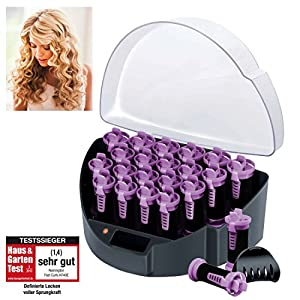 Remington Fast Curls KF40E - Kit de Rulos Calientes para el Pelo, Teflón, Iónicos, Horquillas, 20 Rulos, Negro y Morado