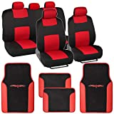 1993 toyota corolla seat covers - BDK Red Combo Fresh Design Matching All Protective Seat Covers (2 Front 1 Bench) with Heavy Protection Sleek Graphic Auto Carpet Floor Mats (4 Set)
