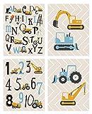 Lot de 4 Poster pour Chambre de Bébé/D'Enfant- Affiches Alphabet ABC - Tableaux Décoratifs pour Chambre Enfant -Voiture de...