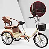 SN Plegable Triciclos para Adultos Bicicleta De 3 Ruedas 1 Velocidad Carga con Cesta Compra Asiento Ajustable Frenos Traseros Delanteros para Hombres Mujeres (Color : Beige)