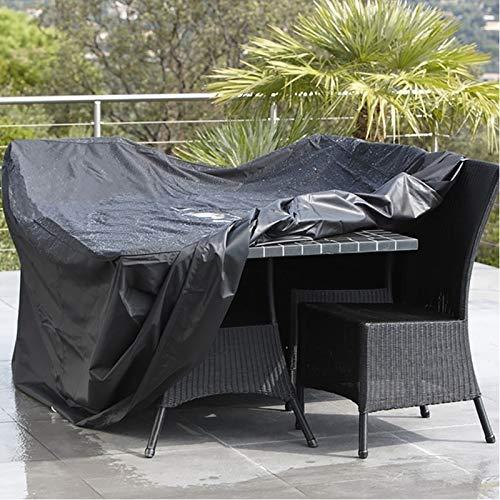 Artículos para el hogar Muebles anti-UV a prueba de agua a prueba de polvo Sillas 210D Oxford tela plegable wjTable cubierta protectora al aire libre juego de tapas, tamaño: 242 * 162 * 100 cm (Negro)