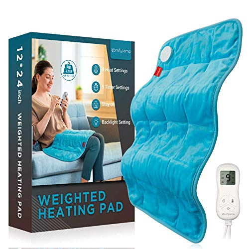 Weighted Heating Pad, Comfytemp 12x 24' Electric Heating Pad for Back Pain Relief with 9 Heat...