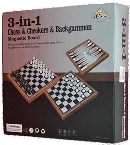 SHINE 3 en 1 Luxury Magnetic Juego de Mesa Set Compendio Juegos de Viaje Chess Backgammon Drafts