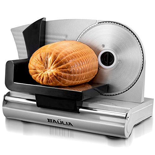 Baulia Stainless Steel Electric Food Slicer-7.5 Inch Removable Blade for Easy Cleaning – Use for Bread, Deli, Veggies, Meat, Silver