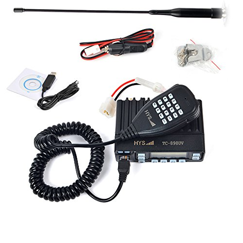 HYS TC-898UV 25W Dual Band Mobile Transceiver 136-174/400-480MHz Amateur Ham Radio with Programming Cable, Car Cigarette, Soft Telescopic Car Antenna