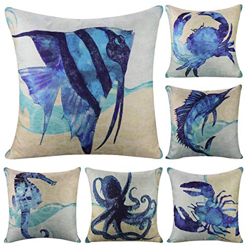 Confezione da 6 cotone lino stile mediterraneo throw Pillow case, Ocean Theme decorativo quadrato cuscino 45,7 x 45,7 cm (cover solo, senza inserto) Sea Theme 4
