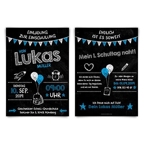 10 x Einschulung Einladungskarten Schulanfang individuell Einladungen - Tafel Blau