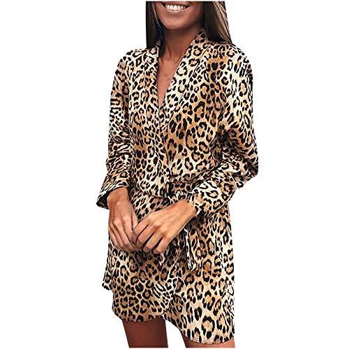 Kobay-Damen Bequem und Atmungsaktiv Slim Langarm Leopardenmuster V-Ausschnitt Bandage Unregelmäßiges Kleid Geschenke für Frauen