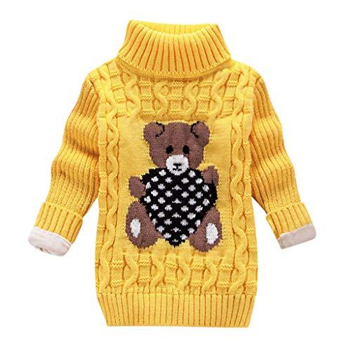 WEXCV Unisex Baby Kinder Mädchen Winter Pullover Strickpullover Hoher Kragen Warmer Langarm Cute Pullover Kinderkleidung Sweatshirt Tops