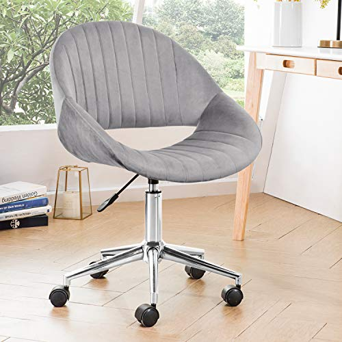 OVIOS Cute Desk Chair,Plush Velvet Office Chair for Home or Office,Modern,Comfortble,Nice Task Chair for Computer Desk. (Polish Steel-Grey)