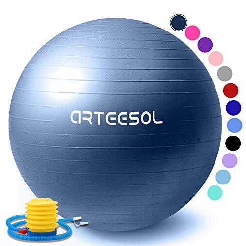 arteesol Gymnastikball 45cm/55cm/65cm/75cm Schwangerschaft Yoga Ball Auti Burst Core Blance Ball mit Schnellpumpe für Pilates Training Fitness Geburt (Darkblau-Srub, 65cm)