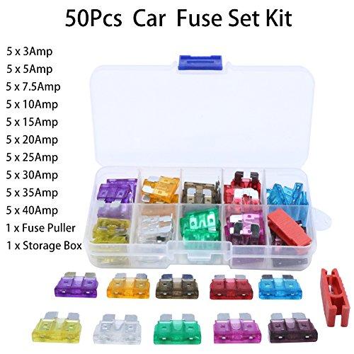 50Pcs Mix Assorted Car Motorcycle Truck Blade Fuse Set Kit 3A 5A 10A 15A 20A 25A 30A 35A 40A
