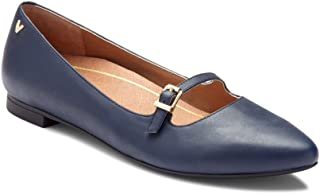 Vionic Womens Gem Delilah Ballet Flat - Ladies Pointed Mary Jane Flat with Concealed Orthotic Arch