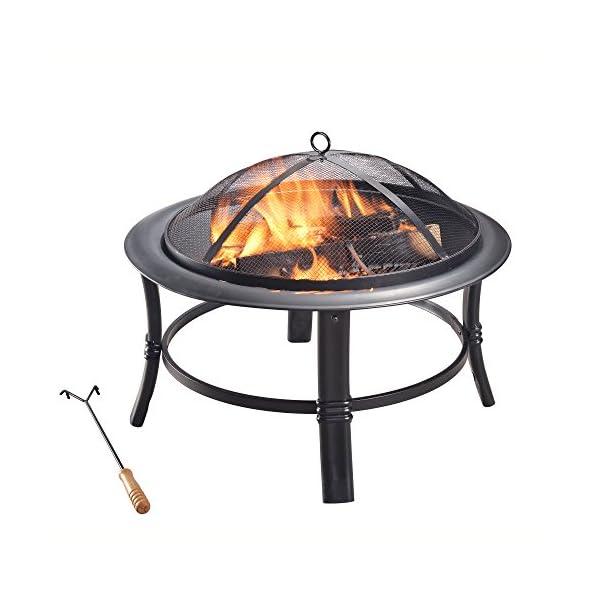 Peaktop CU297 Outdoor 26-Inch Round Steel Wood Burning Fire Pit