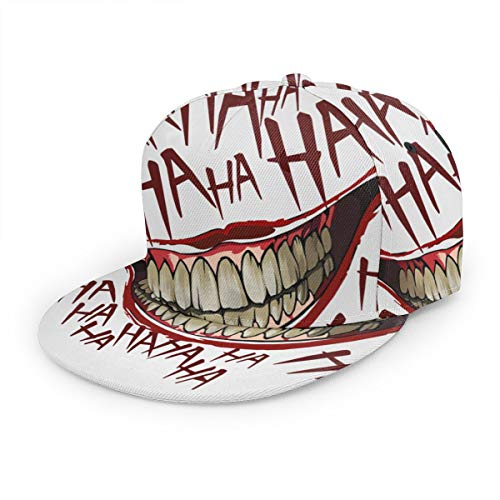 Joker Hahaha Unisex 3D Printing Classic Baseball Cap Snapback Flat Bill Hip Hop Hats Black