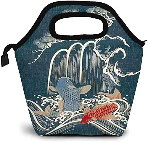 Bolsa de almuerzo con aislamiento de peces Koi en cascada, caja de picnic, enfriador portátil, bolsa de almuerzo para mujeres, niñas, hombres y niños