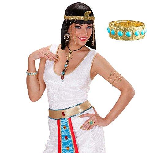 NET TOYS Cleopatra Armband Ägypten Armreif mit blauen Steinen Gold-türkis Göttinnen Goldarmband Königin Armkette Antike Arm Schmuck Pharaonen Kostüm Accessoire