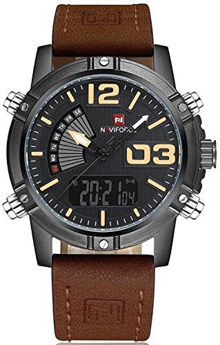 Naviforce - Reloj analógico de cuarzo para hombre con fecha, correa de piel, resistente al agua