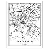 h-p Schweiz Schwarz-Weiß-Weltkarte Poster Nordisches