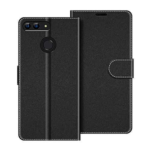 COODIO Handyhülle für Huawei P Smart 5,65 Zoll Handy Hülle, Huawei P Smart Hülle Leder Handytasche für Huawei P Smart Klapphülle Tasche, Schwarz