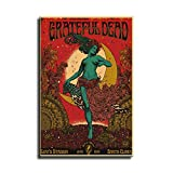 FINDEMO Retro Music Poster Grateful Dead Dancing Girl Canvas Wall Art Poster Wall Hanging Giclee, Beautiful Living Room and Bedroom Art,Cool Posters for Room-287 (24x36 inch,No Frame)