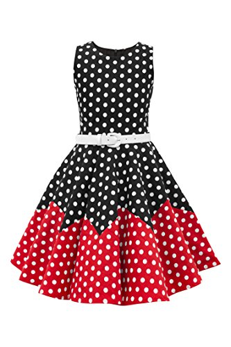BlackButterfly Kids 'Amy' Vintage Polka Dot 50's Girls Dress (Black - Red, 11-12 YRS)