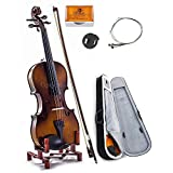 SKY 1/10 Size SKYVN201 Solid Maple Wood Violin with Lightweight Case, Brazilwood Bow, String, Rosin and Mute