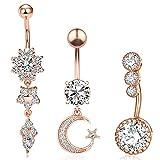 EQLEF Piercing Ombligo Oro Rosa, Anillo de Acero Inoxidable para el Ombligo, Anillos de Cristal para el Ombligo Umbilical, Colgante de Gota, joyería para Mujer