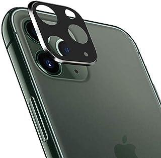 واقي عدسة لكاميرا موبيل آيفون 11 برو ماكس مقاس 6.5 بوصة باطار معدني وشاشة حماية زجاجية - اسود