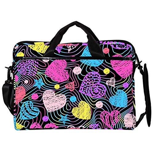 Unisex Computer Tablet Satchel Bag,Lightweight Laptop Bag,Canvas Travel Bag,13.4-14.5Inch with Buckles Colorful Rainbow Heart Love